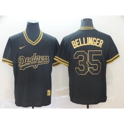 MLB Dodgers 35 Cody Bellinger Black Gold Nike Cooperstown Legend V Neck Men Jersey