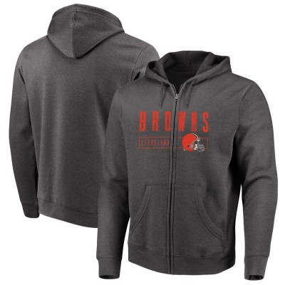 Cleveland Browns Majestic Hyper Stack Full Zip Hoodie Heathered Charcoal