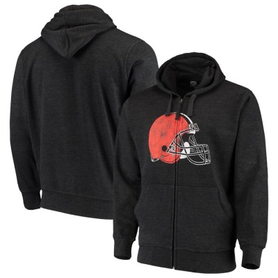 Cleveland Browns G III Sports by Carl Banks Primary Logo Full Zip Hoodie Charcoal