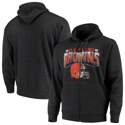 Cleveland Browns G III Sports by Carl Banks Perfect Season Full Zip Hoodie Charcoal