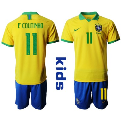 2019-20 Brazil 11 P. COUTINHO Home Soccer Youth Jersey