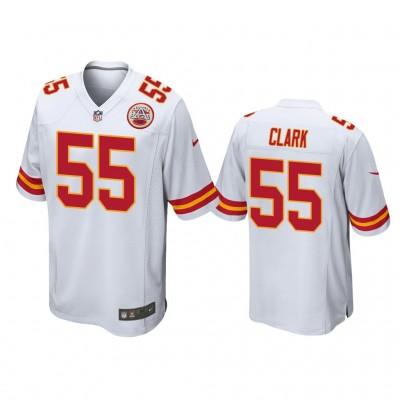 Nike Chiefs 55 Frank Clark White Elite Men Jersey