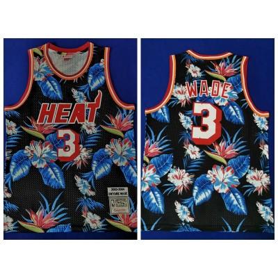 NBA Heat 3 Dwyane Wade Black Fashion Hardwood Classics Men Jersey