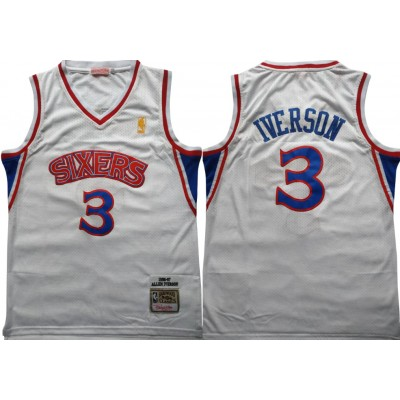 NBA 76ers 3 Allen Iverson White 1996-97 Hardwood Classics Mesh Men Jersey