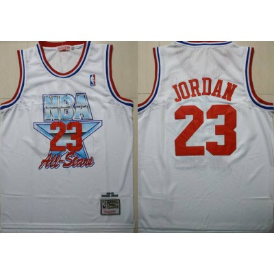 NBA Bulls 23 Michael Jordan White 1992-1993 All Star Hardwood Classics Men Jersey