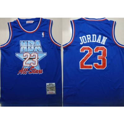 NBA Bulls 23 Michael Jordan Blue 1992-1993 All Star Hardwood Classics Men Jersey