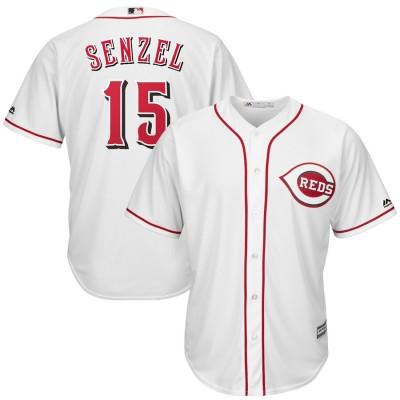MLB Reds 15 Nick Senzel White Cool Base Men Jersey