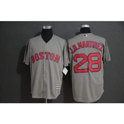 MLB Red Sox 28 J.D. Martinez Gray Cool Base Men Jersey