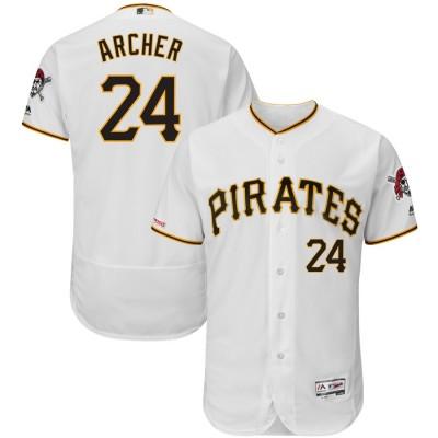 MLB Pirates 24 Chris Archer White 150th Patch Flexbase Men Jersey