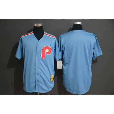 MLB Phillies Blank Light Blue Cool Base Cooperstown Men Jersey