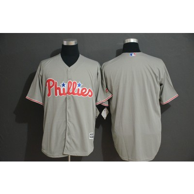 MLB Phillies Blank Gray New Cool Base Men Jersey