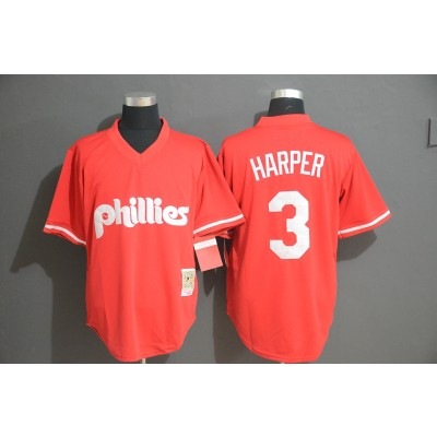 MLB Phillies 3 Bryce Harper Red Throwback Men Jersey