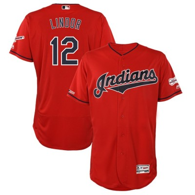 MLB Indians 12 Francisco Lindor Red 150th Patch Flexbase Men Jersey