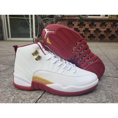 "Air Jordan 12 ""FIBA"" White/University Red-Metallic Gold Shoes"