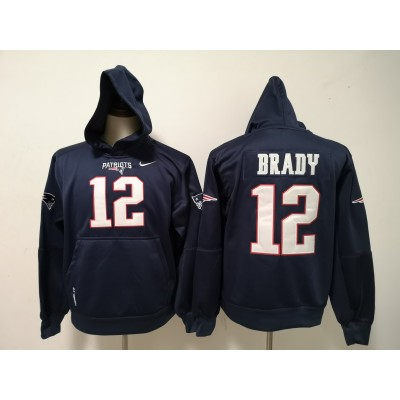 Nike Patriots 12 Tom Brady Navy All Stitched Hooded Sweatshirt