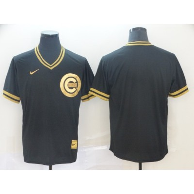 MLB Cubs Blank Black Gold Nike Cooperstown Legend V Neck Men Jersey