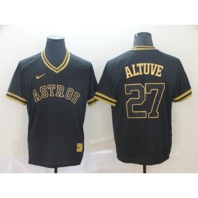 MLB Astros 27 Jose Altuve Black Gold Nike Cooperstown Legend V Neck Men Jersey