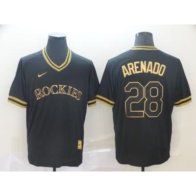 MLB Rockies 28 Nolan Arenado Black Gold Nike Cooperstown Legend V Neck Men Jersey