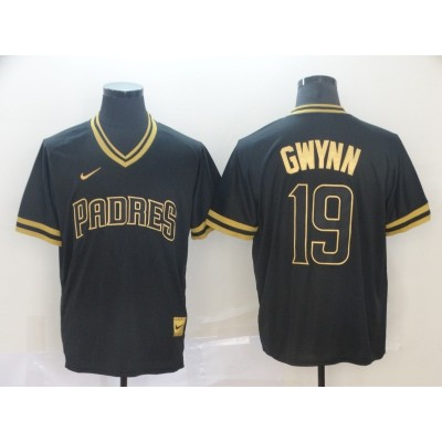 MLB Padres 19 Tony Gwynn Black Gold Nike Cooperstown Legend V Neck Men Jersey