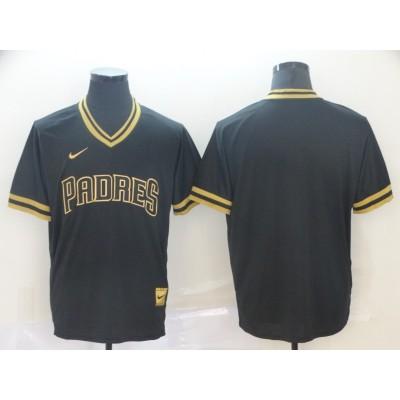 MLB Padres Blank Black Gold Nike Cooperstown Legend V Neck Men Jersey