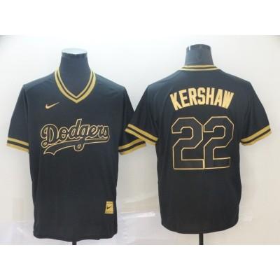 MLB Dodgers 22 Clayton Kershaw Black Gold Nike Cooperstown Legend V Neck Men Jersey