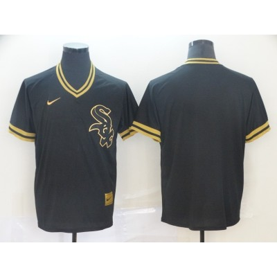 MLB White Sox Blank Black Gold Nike Cooperstown Legend V Neck Men Jersey