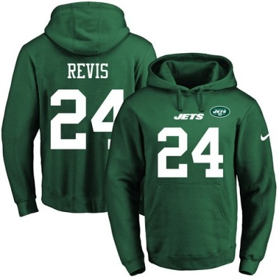 Nike Jets 24 Darrelle Revis Green Men's Pullover Hoodie