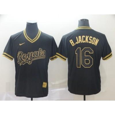 MLB Royals 16 Bo Jackson Black Gold Nike Cooperstown Legend V Neck Men Jersey