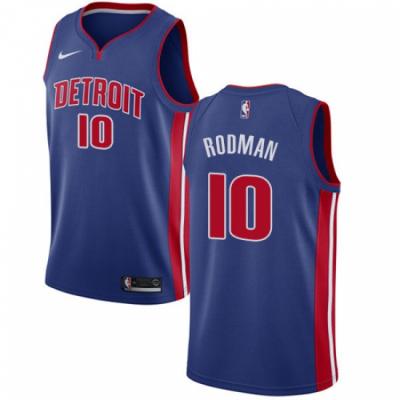 NBA Pistons 10 Dennis Rodman Detroit Blue Men Jersey