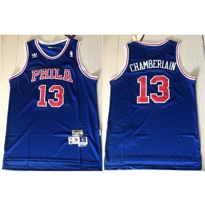 NBA 76ers 13 Wilt Chamberlain Blue Hardwood Classics Mesh Men Jersey