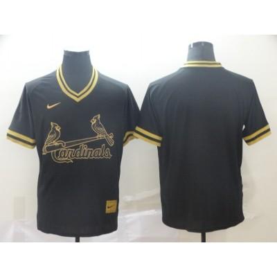 MLB Cardinals Blank Black Gold Nike Cooperstown Legend V Neck Men Jersey