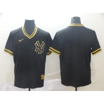 MLB Yankees Blank Black Gold Nike Cooperstown Legend V Neck Men Jersey