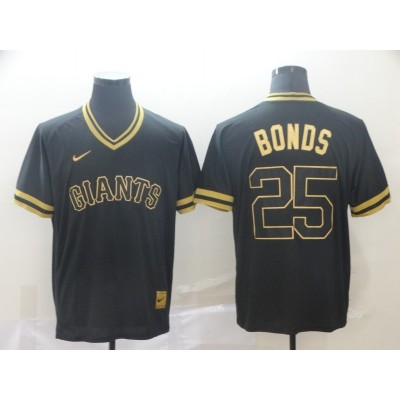 MLB Giants 25 Barry Bonds Black Gold Nike Cooperstown Legend V Neck Men Jersey