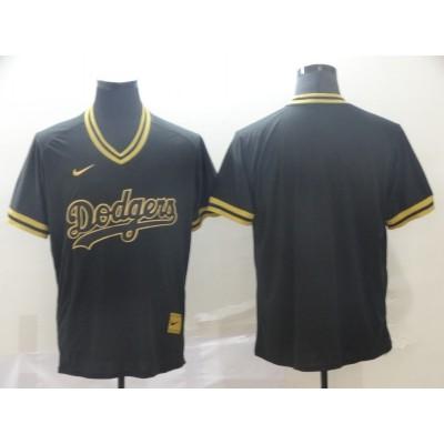MLB Dodgers Blank Black Gold Nike Cooperstown Legend V Neck Men Jersey