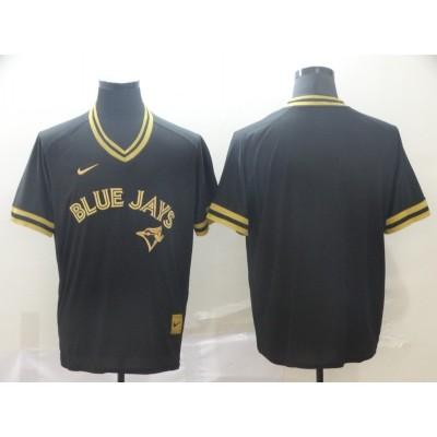 MLB Blue Jays Blank Black Gold Nike Cooperstown Legend V Neck Men Jersey
