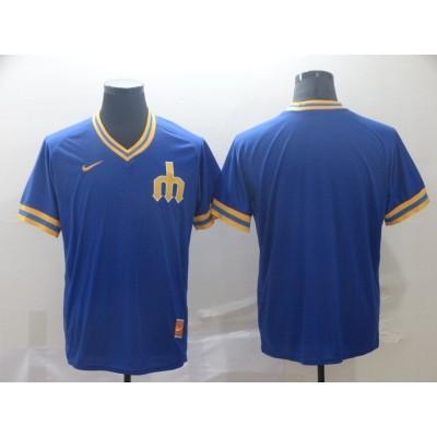 MLB Mariners Blank Blue Nike Cooperstown Collection Legend V-Neck Men Jersey
