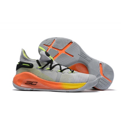 UA Curry 6 Cool Grey/Orange-Yellow Shoes
