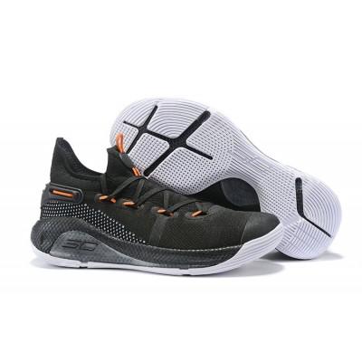 UA Curry 6 Low Cushioning Black White Orange Shoes