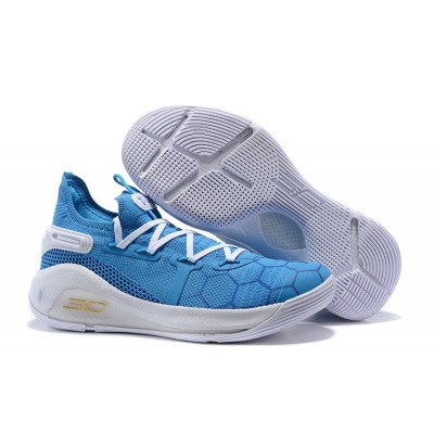 UA Curry 6 Low Cushioning Light Blue White Shoes