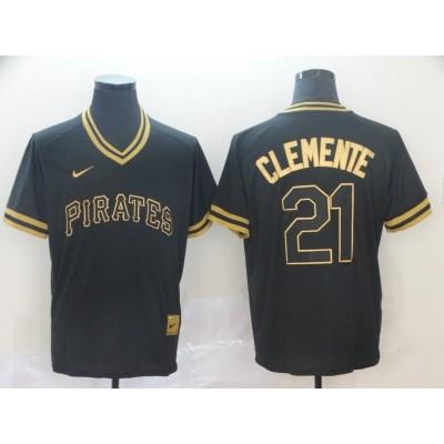 MLB Pirates 21 Roberto Clemente Black Gold Nike Cooperstown Legend V Neck Men Jersey