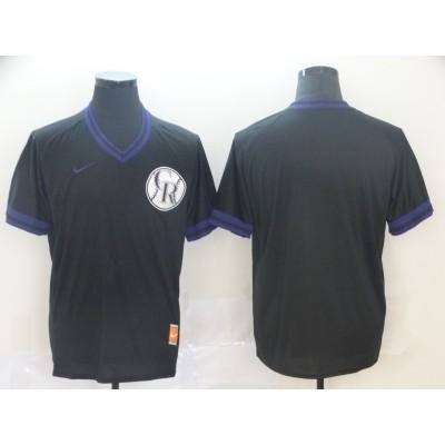 MLB Rockies Blank Black Nike Cooperstown Collection Legend V-Neck Men Jersey