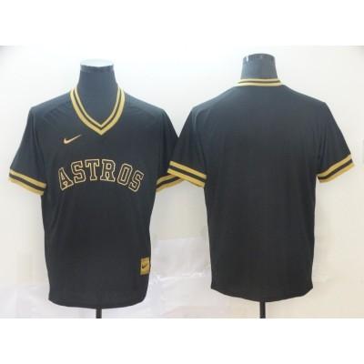 MLB Astros Blank Black Gold Nike Cooperstown Legend V Neck Men Jersey