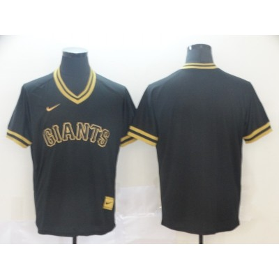 MLB Giants Blank Black Gold Nike Cooperstown Legend V Neck Men Jersey