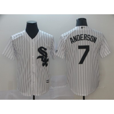 MLB White Sox 7 Tim Anderson White Cool Base Men Jersey
