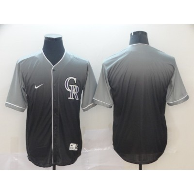 MLB Rockies Blank Gray Drift Fashion Men Jersey