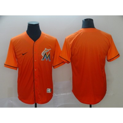 MLB Marlins Blank Orange Drift Fashion Men Jersey