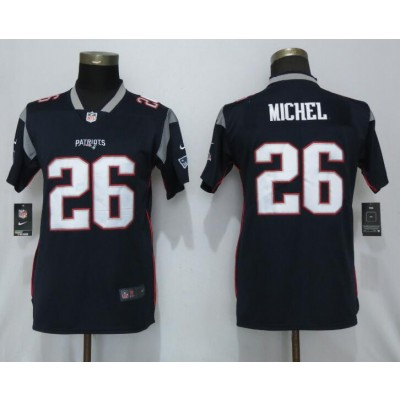 Nike Patriots 26 Sony Michel Navy Vapor Untouchable Limited Women Jersey