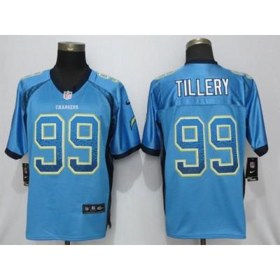 Nike Chargers 99 Jerry Tillery Blue Drift Fashion Elite Men Jersey