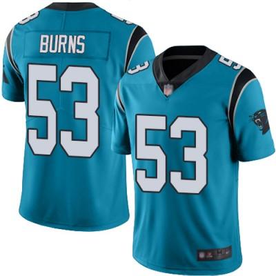 Nike Panthers 53 Brian Burns Blue Vapor Untouchable Limited Men Jersey