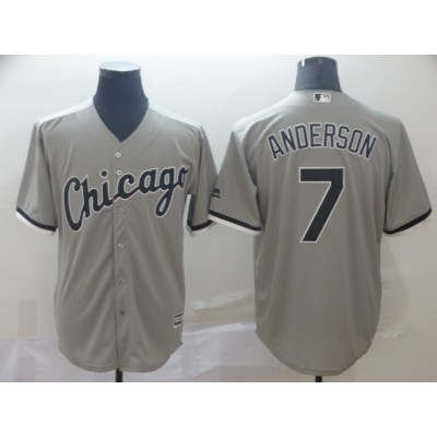 MLB White Sox 7 Tim Anderson Gray Cool Base Men Jersey